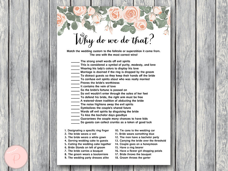 Pink Floral Bridal Shower Game Printable  Bride  Bows