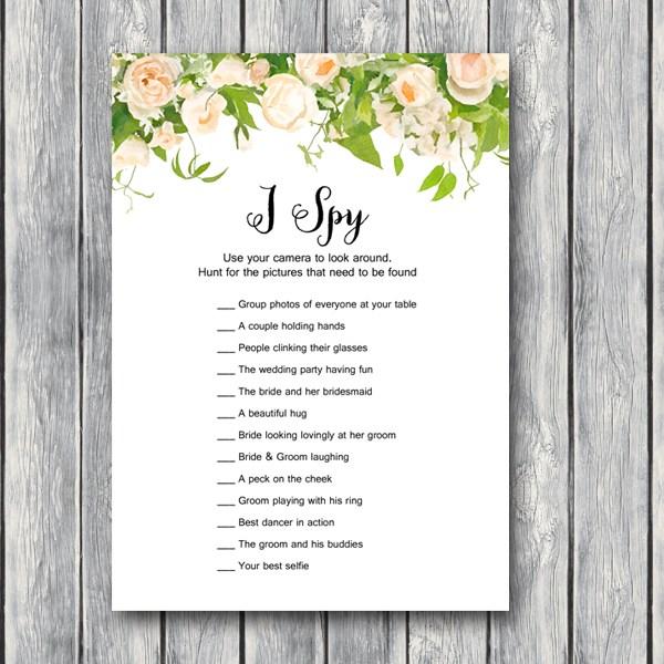 Download I Spy Wedding Scavenger Game Bride Bows