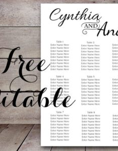 Free editable wedding seating chart template also stylish printable bride bows rh brideandbows
