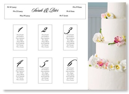 Classic Cake Wedding Table Plan