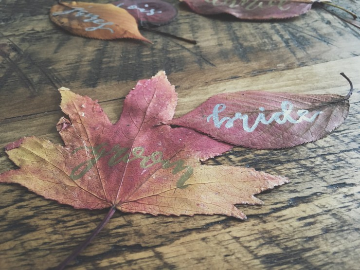 Have a go at...Modern Calligraphy Leaf Name Cards | British wedding blog - Bride and Tonic