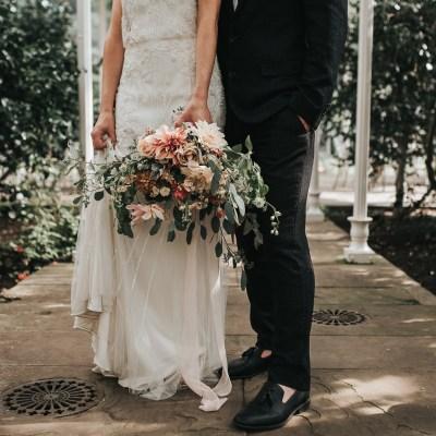 Styled Shoot || A Moody, Blush + Grey Greenhouse Wedding