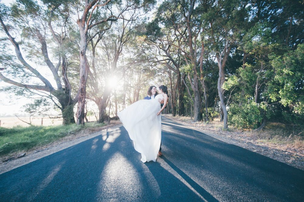 bride swept off her feet in the outback