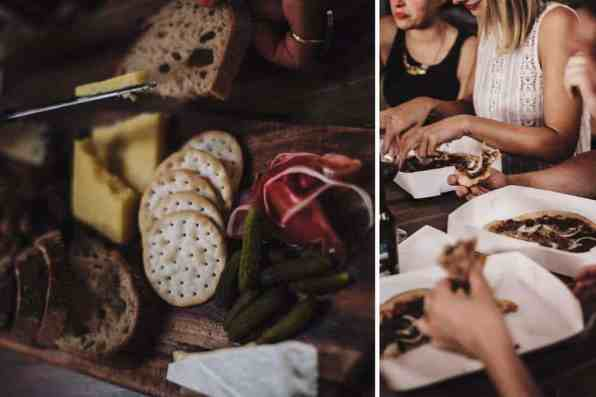 Food at an inner city warehouse wedding space