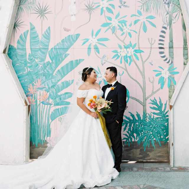 a vibrant, tropical wedding in downtown los angeles