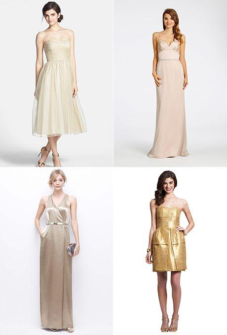 glam gold bridesmaid dresses
