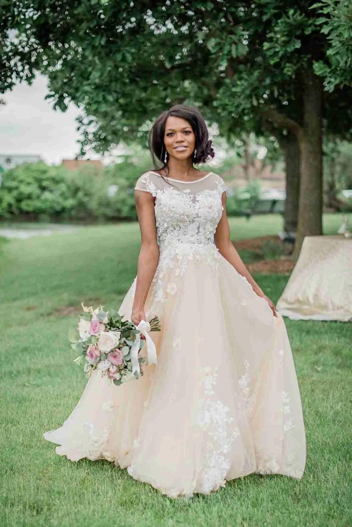 Custom Made Champagne Wedding Dress
