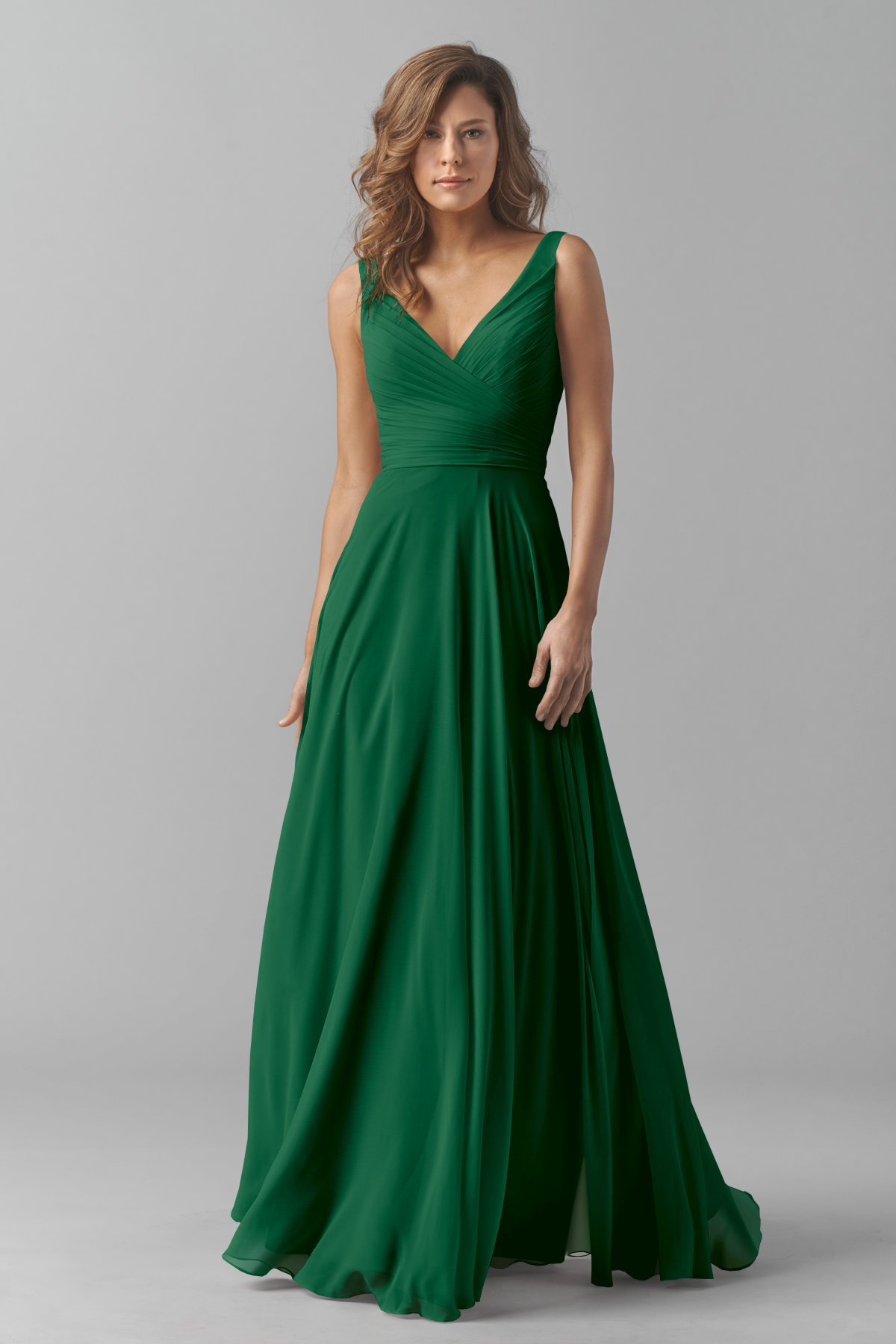 Emerald Green V neck Long bridesmaid dress  Budget