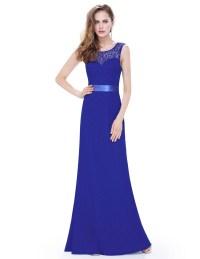 Long Royal Blue Sleeveless Lace Bridesmaid Dress  Budget ...