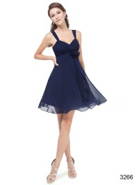 Short Navy Flower Bridesmaid Dress with straps  Budget ...