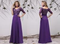 half sleeve purple bridesmaid dresses  Budget Bridesmaid ...