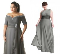 Plus sizes long one shoulder charcoal gray bridesmaid