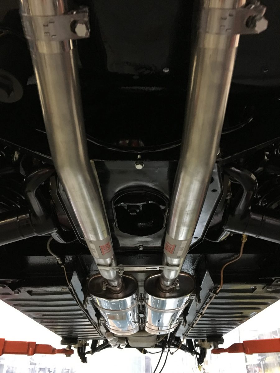 Fitting up the new stainless exhaust  Bridge Classic Cars