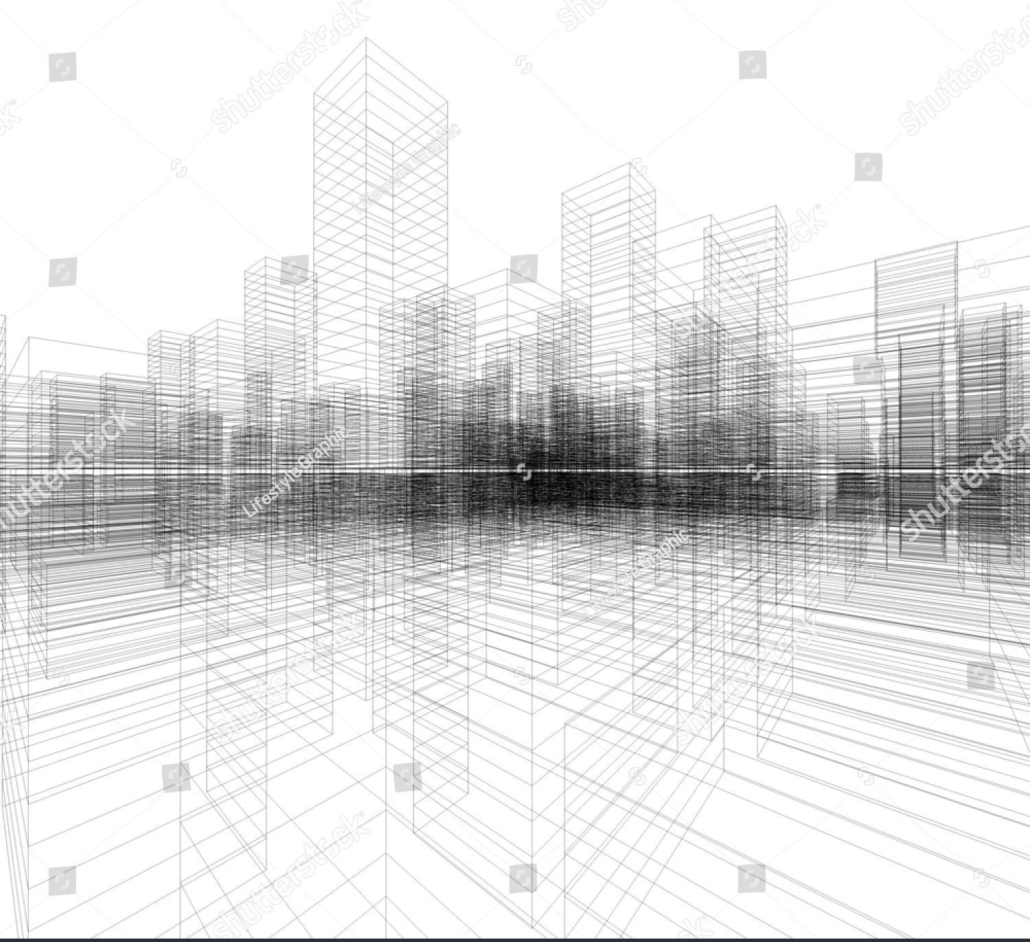 cropped stock photo perspective d render of building wireframe