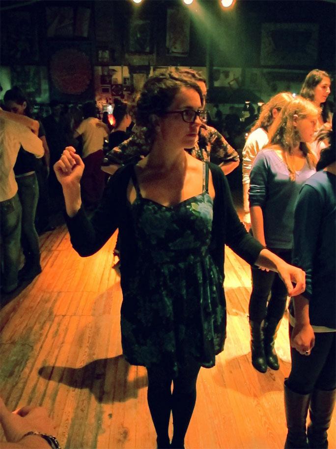 Victoria learning tango at La Catedral