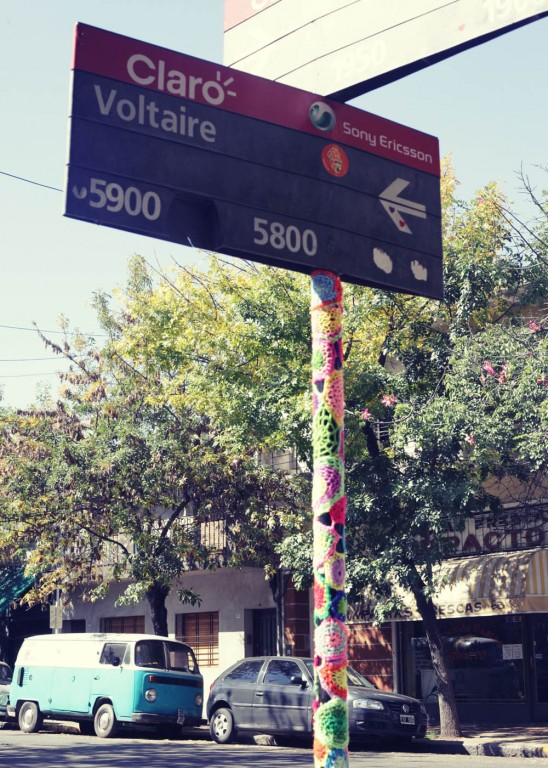 Crocheted signpost outside Voltaire cafe, Buenos Aires