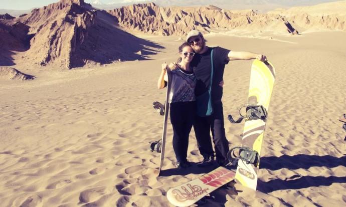 Ready to sandboard in San Pedro de Atacama