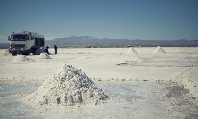 Salt piles Uyuni