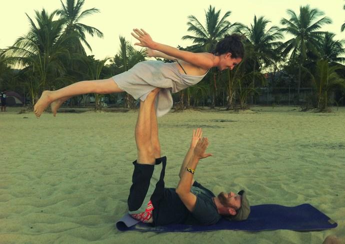 Practising acro yoga in San pancho