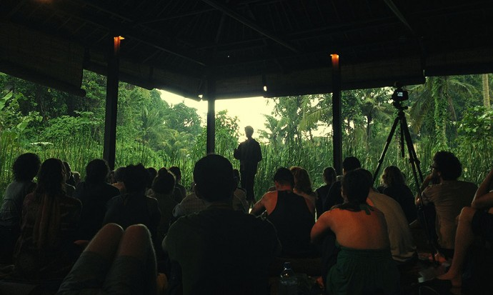 Rodolfo speaking at yoga barn
