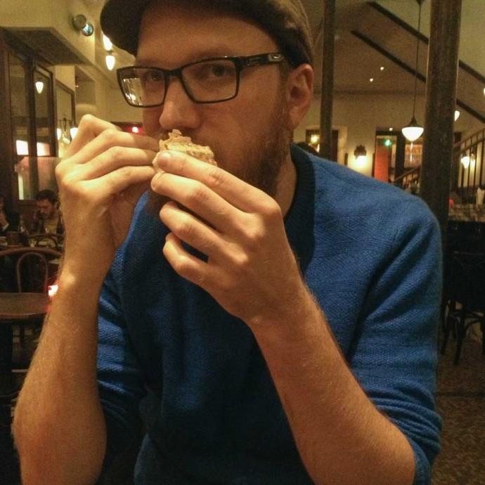 Steve eating bread