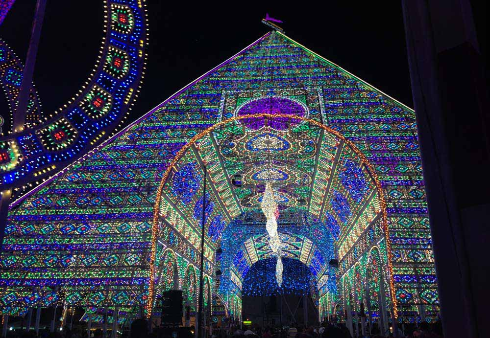Pyramid of lights in Notte delle Luci