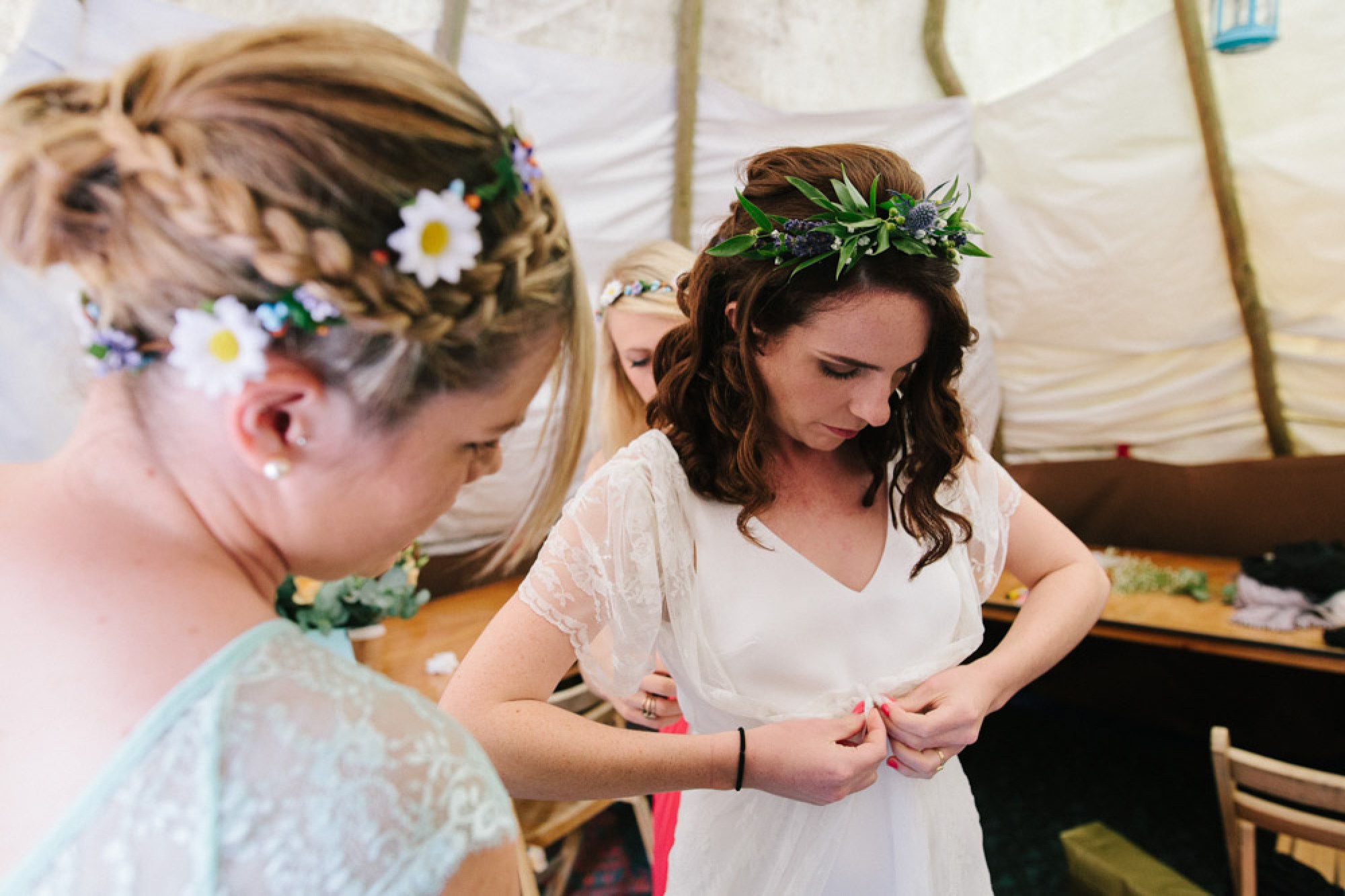 Getting ready for a festival wedding in the UK