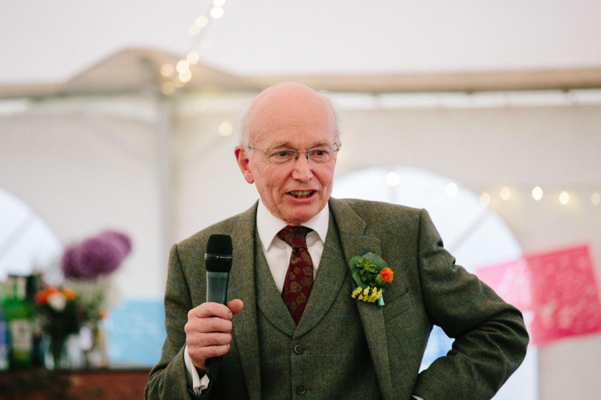 Steve's dad giving speech