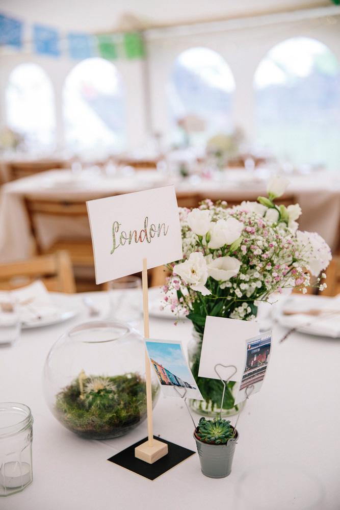 Travel theme wedding tables