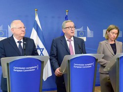 President Rivlin with European Commission President Jean-Claude Juncker and High Representative for Foreign Affairs Federica Mogherini