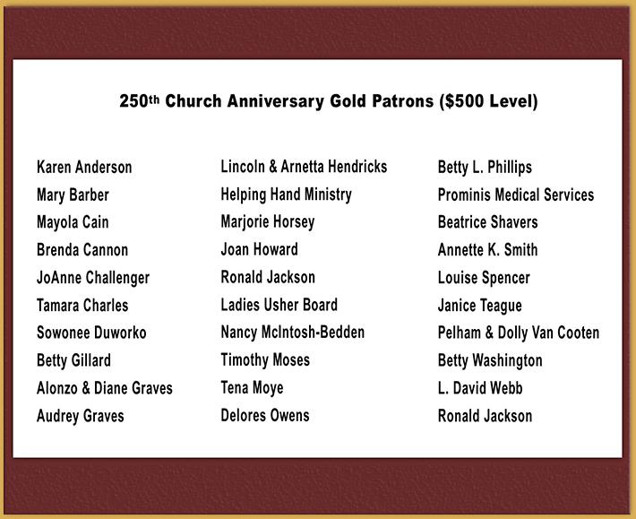 Gold Patrons - 500
