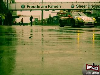 Getspeed Porsche exits a sodden pitlane