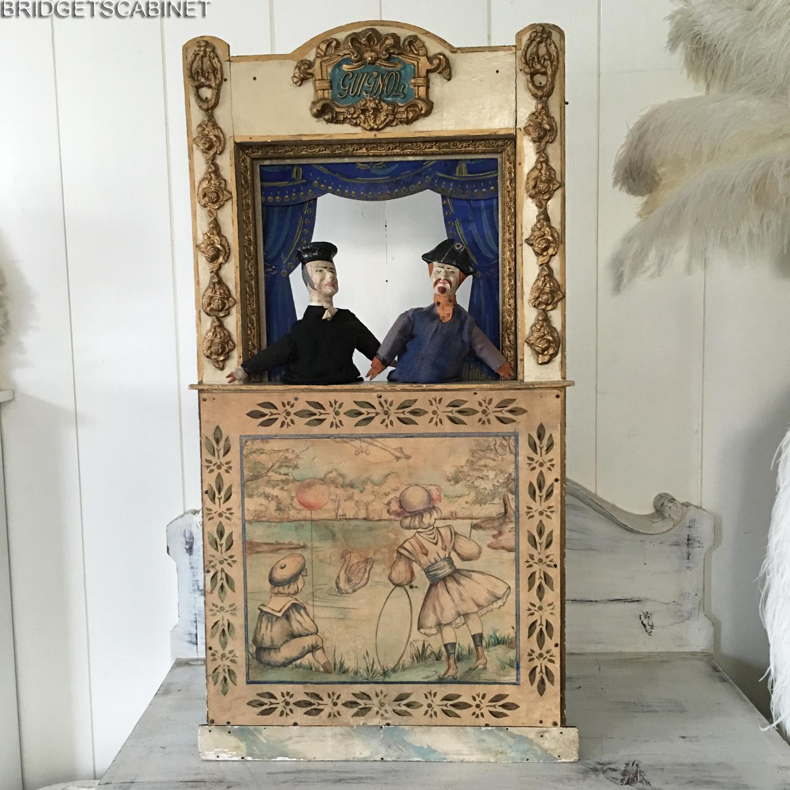 1900s Antique French Guignol Puppet Theater Doll Toy