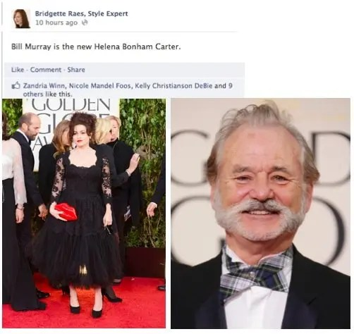 Bill Murray Helena Bonham Carter Golden Globes Fashion 2013