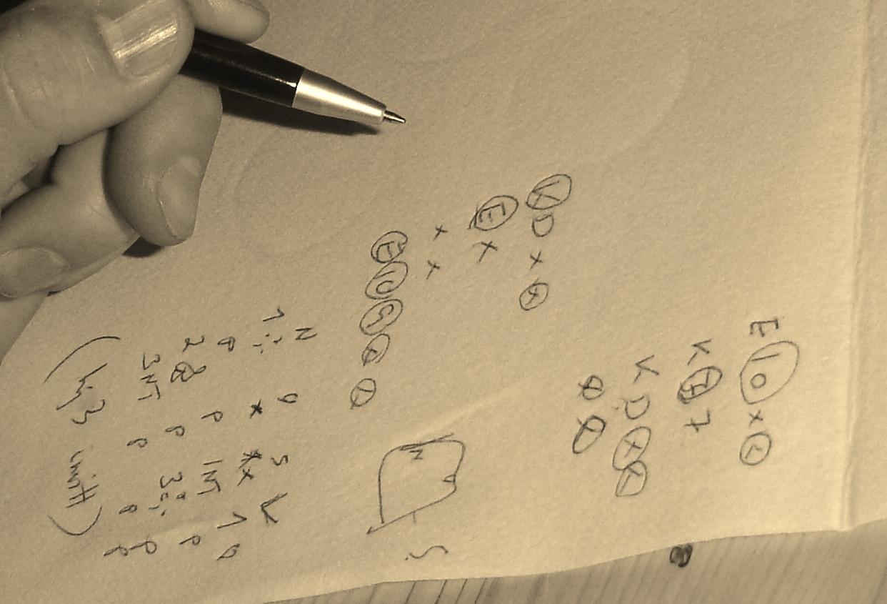 skrive på serviett