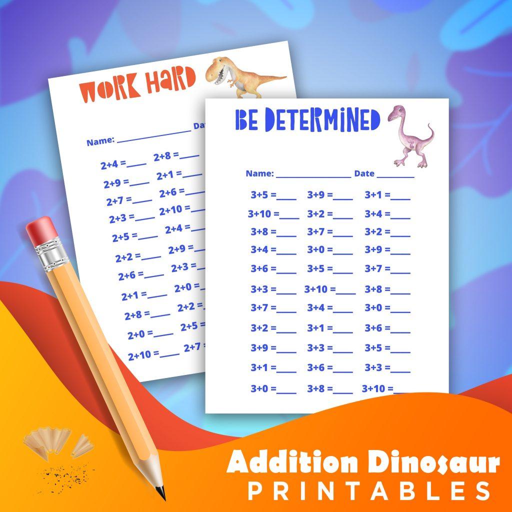 Dinosaur Addition Worksheets 1 10
