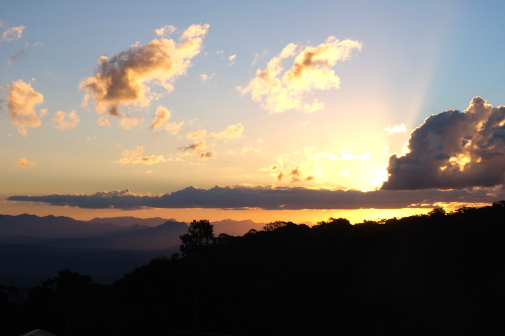 Sunset at O'Reilly's Campground, Lamington National Park Australia. Camping holiday. Minimalists Packing guide