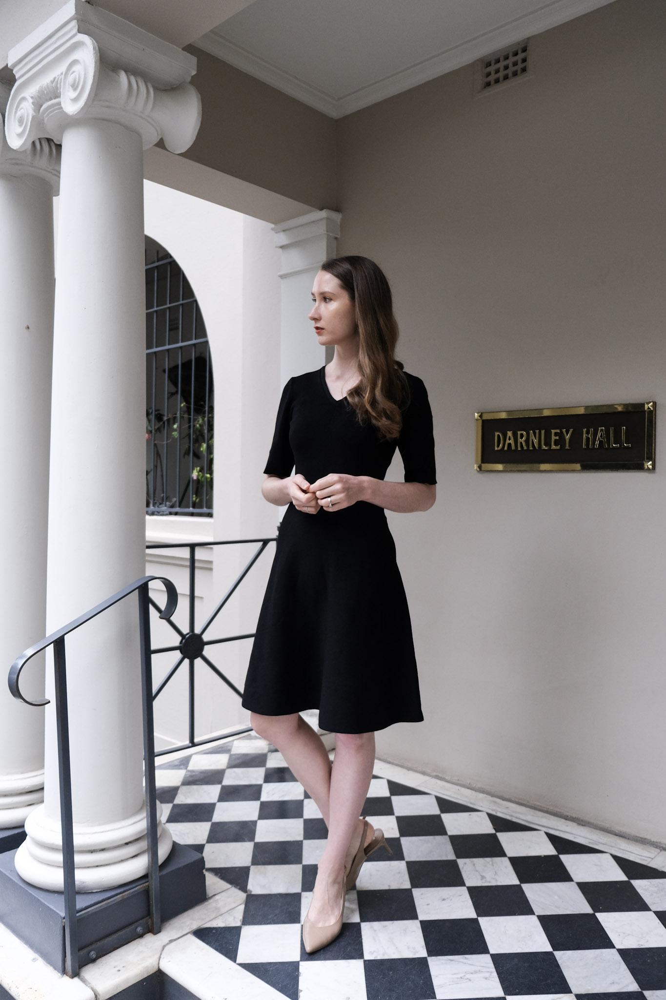 Capsule work wardrobe, minimalist work wear style, little black dress, work outfit ideas, winter work outfit ideas