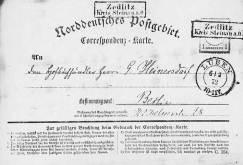 Correspondenzkarte des Norddeutschen Postgebiets.