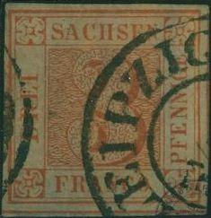 Sachsen 3 Pf. ziegelrot Michel 1a aus dem Jahre 1850 erzielte bei Catatwiki einen Hammerpreis von 4000 Euro