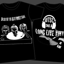 """merch for """"Death To Automation."""" Also the first t-shirt I ever designed! We printed these at a local screen printing place and handed them out to family and friends."""