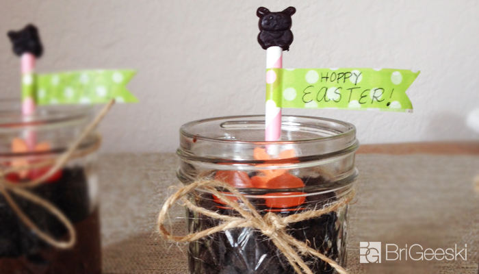 Easter Dirt Cups in a ball jar