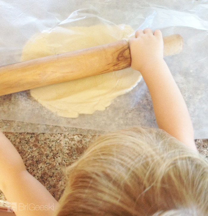 Rolling out the sugar cookie dough