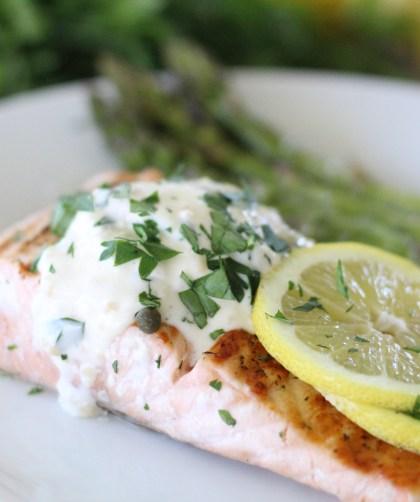 Lemon + Herb Salmon with Garlic Aioli