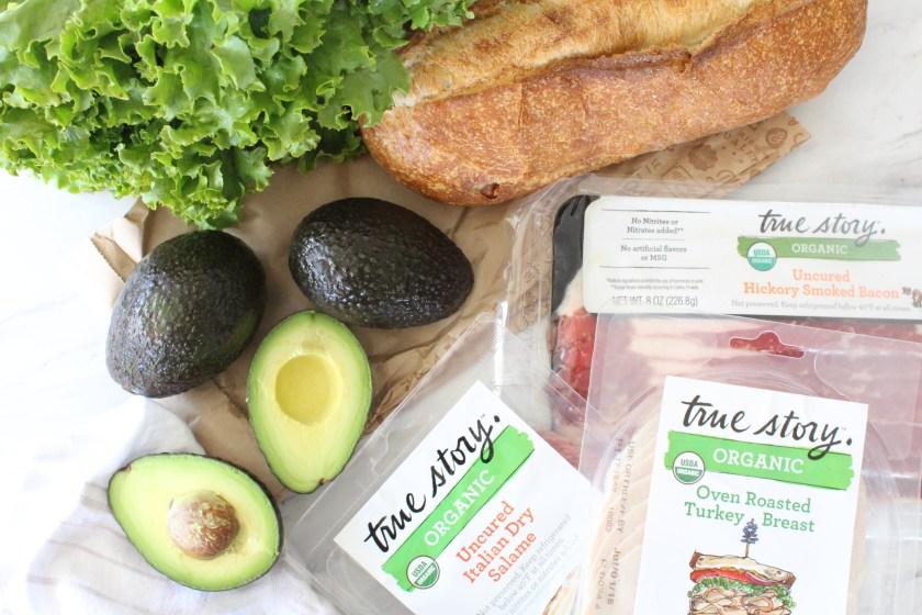 Avocado, bread, meat sandwich
