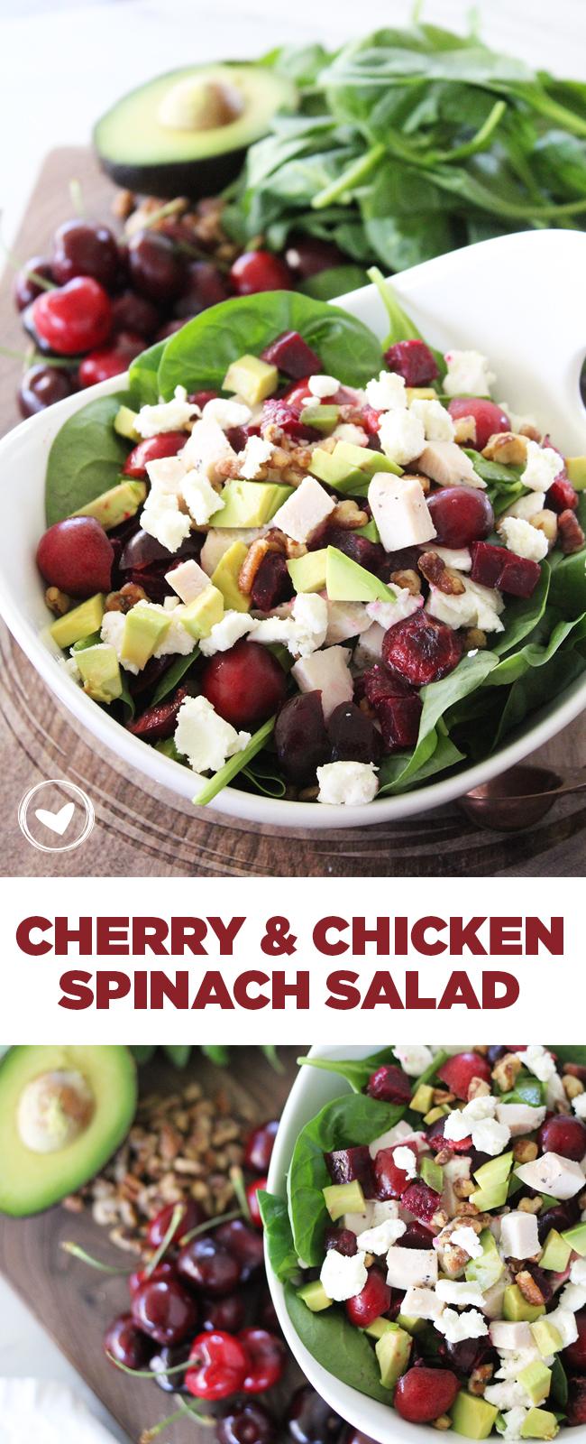 cherry and chicken spinachsalad
