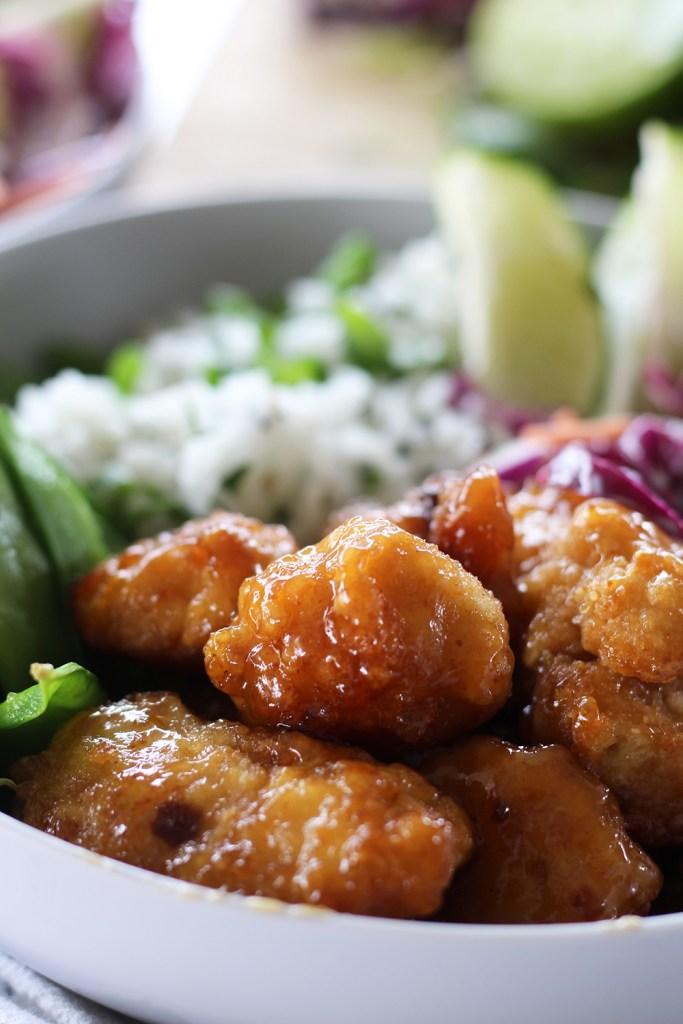 orange chicken bowls with cilantro lime rice