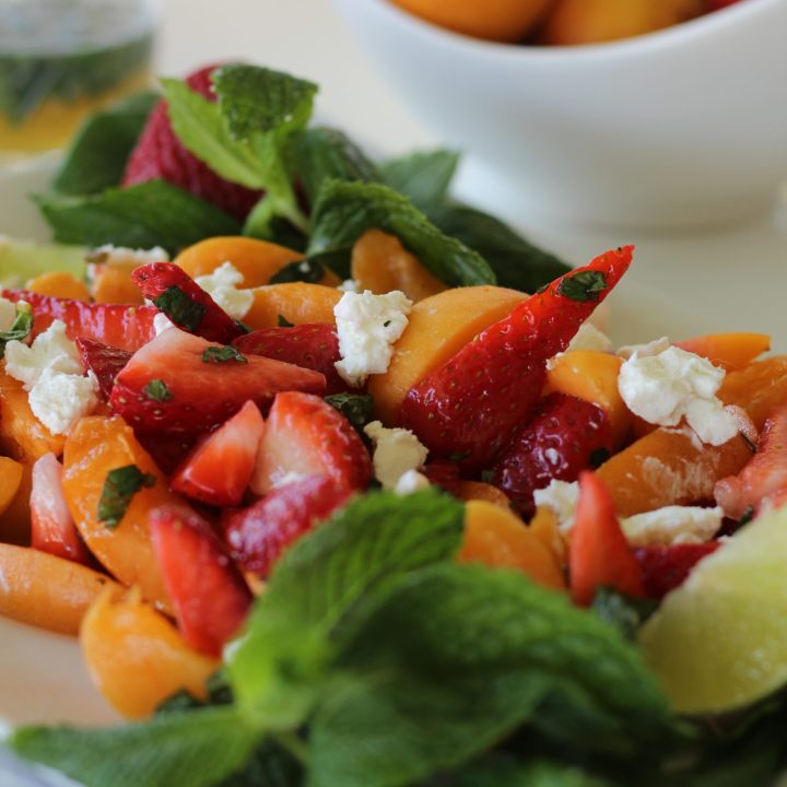 Strawberry Apricot and Goat Cheese Salad