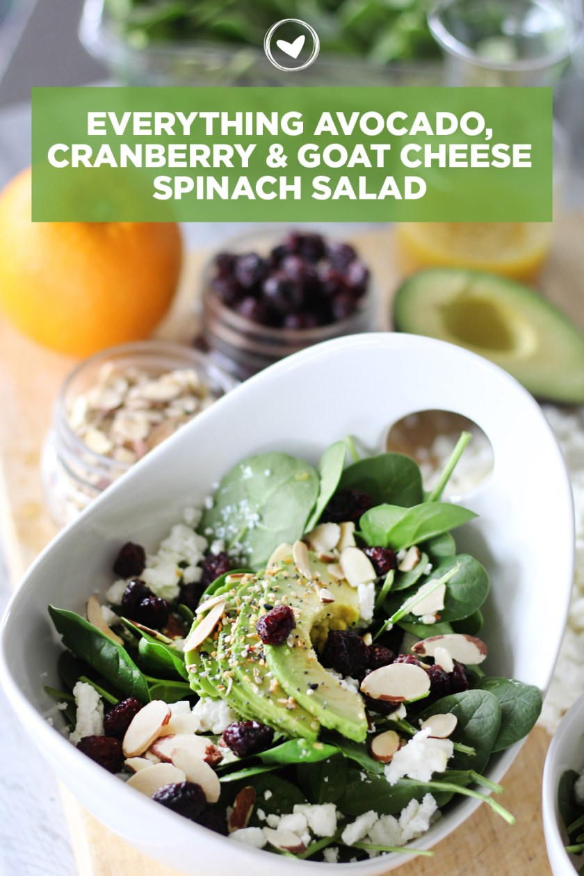 Everything Avocado, Cranberry & Goat Cheese Spinach Salad