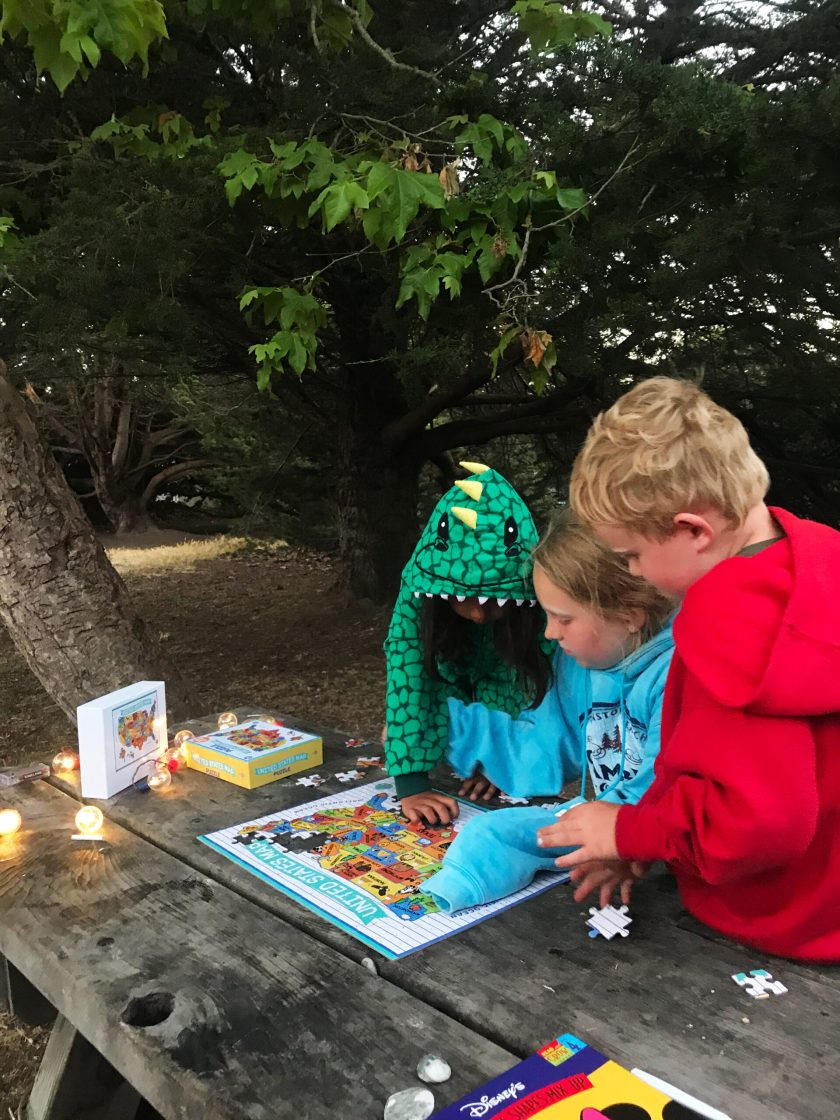 Doing a puzzle at Camp